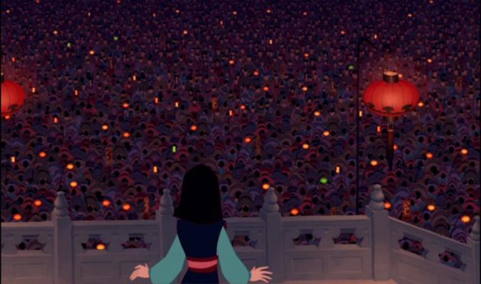 Crowd bwing to Mulan