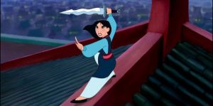 Mulan with shan yu sword